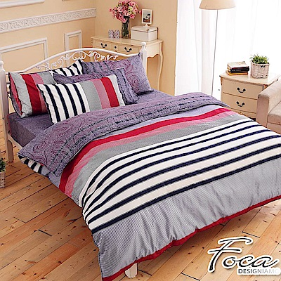 FOCA沈穩步調-加大-100%精梳純棉四件式兩用被床包組