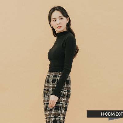 H:CONNECT 韓國品牌 女裝-素面羅紋針織上衣-黑