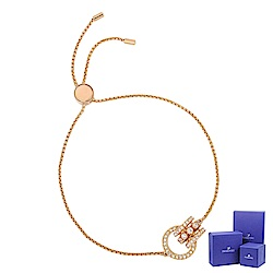 SWAROVSKI 施華洛世奇 Further璀璨水晶環形交織可調整玫瑰金手鍊