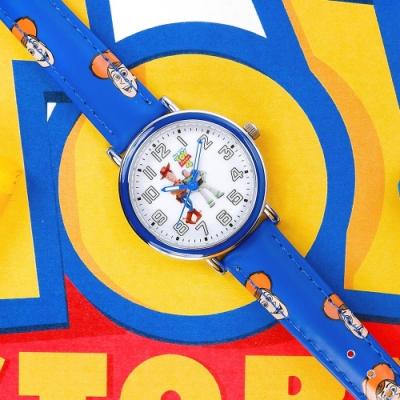 Disney 迪士尼 玩具總動員 胡迪 巴斯光年 兒童卡通錶 皮革手錶-白x藍/32mm