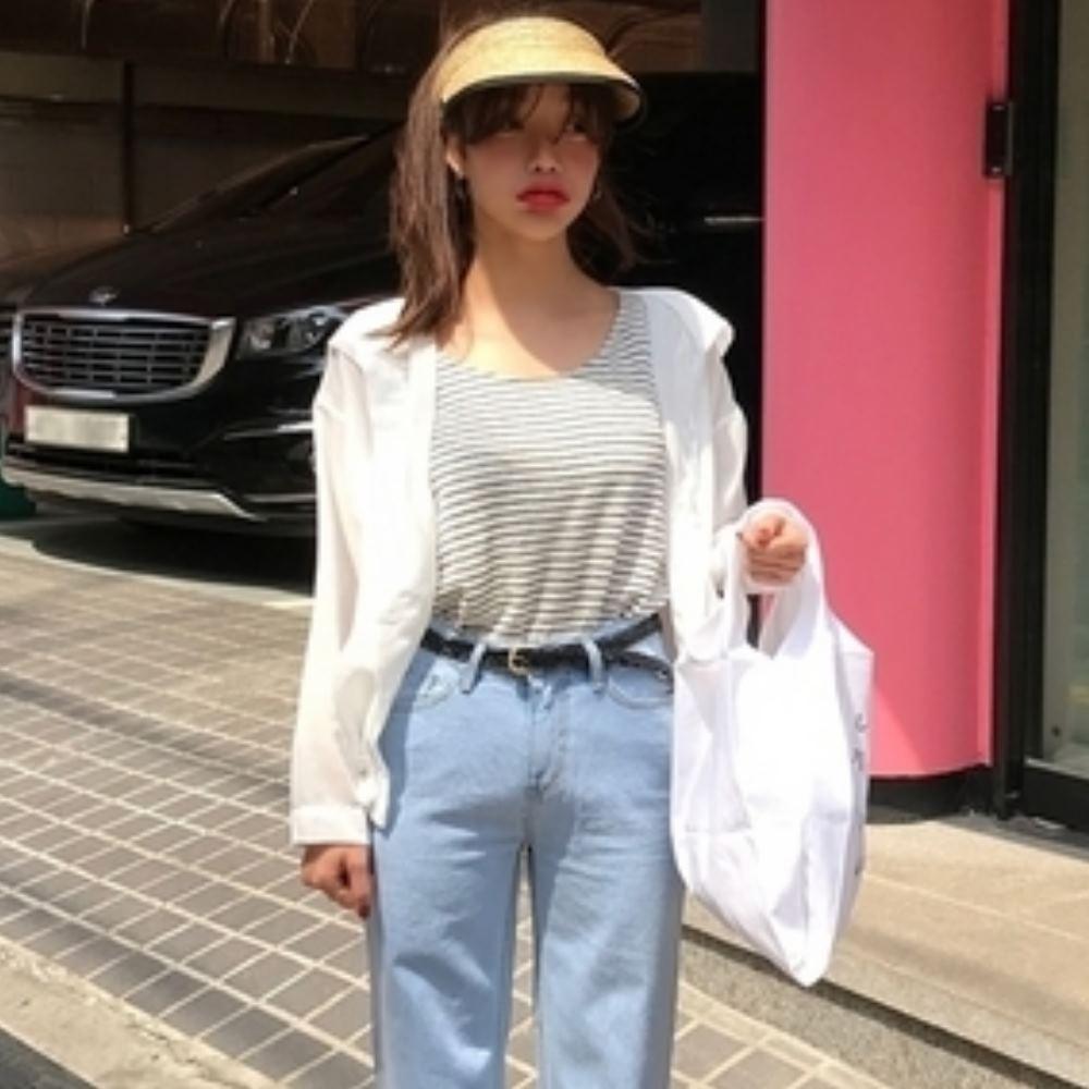 La Belleza素色連帽抽繩排釦燈籠袖微透襯衫薄款外套
