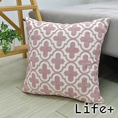 Life Plus 幾何繡花 棉麻舒適方型抱枕/靠枕 (十字)