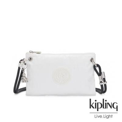Kipling 時尚極簡白抽繩隨身斜背包-KNIPPA