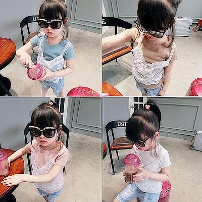 小衣衫童裝  甜美蕾絲假2件短袖螺紋上衣1070328
