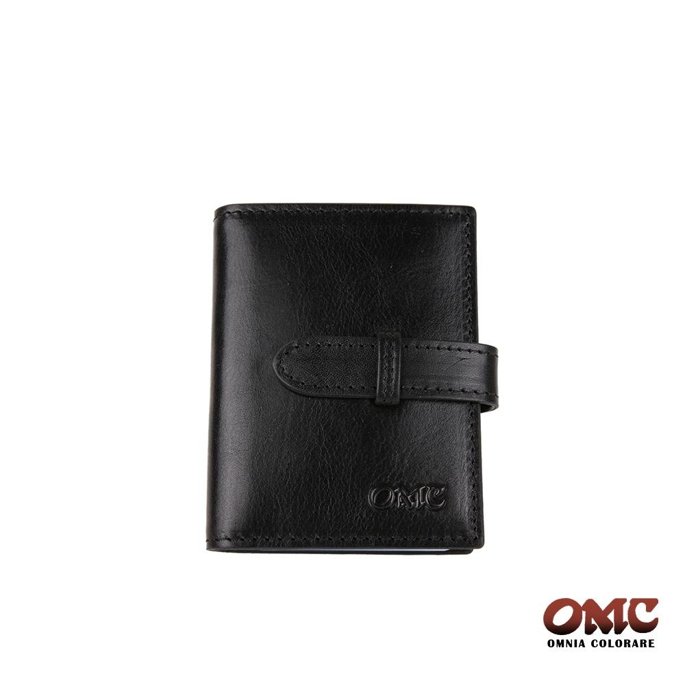 【OMC】義大利進口牛皮20卡片收納皮夾-黑色