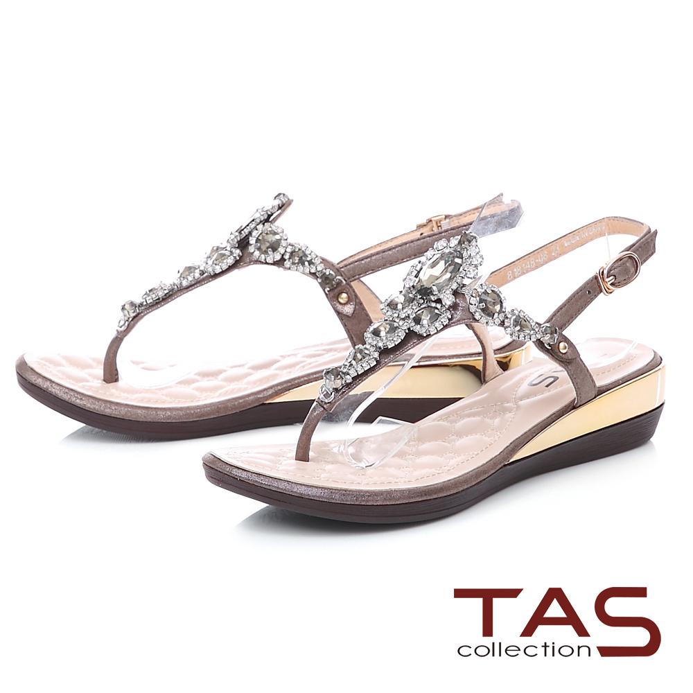 TAS 華麗水鑽夾腳金屬小坡跟涼鞋-氣質灰