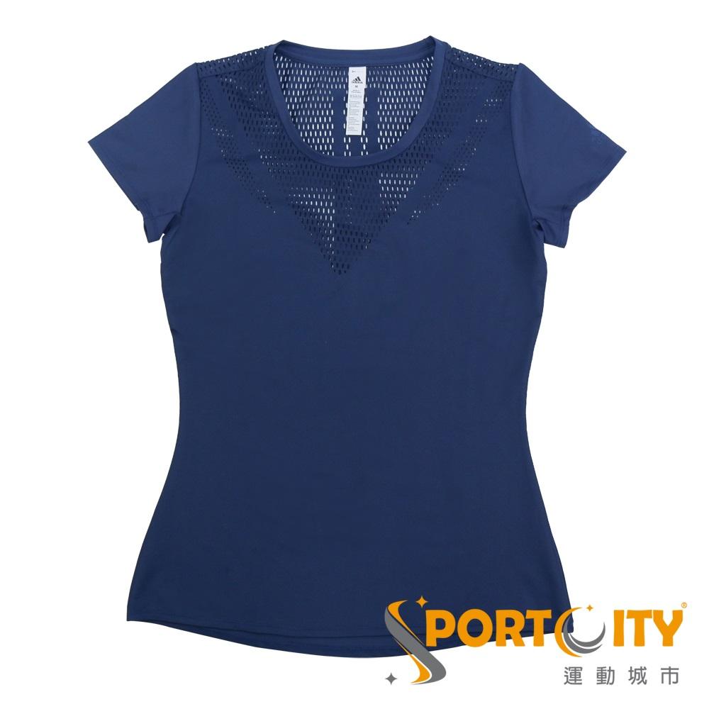ADIDAS 女 短袖上衣-CF3909-深藍