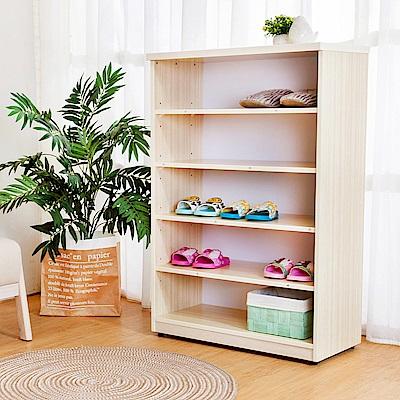 Birdie南亞塑鋼-2.2尺開放式五格收納櫃/鞋櫃-白橡色-66x33x100cm