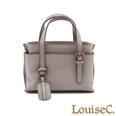 【LouiseC.】牛皮前後插袋迷你款手提包-灰色 (WI190506-19)