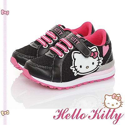 HelloKitty童鞋 透氣輕量減壓抗菌防臭運動休閒慢跑鞋-黑