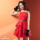 【SHOWCASE】牛仔肩腰帶荷葉斜襬緞面洋裝-紅