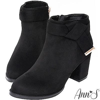 Ann'S巧克力戀人-氣質側邊方結粗跟高跟短靴-黑