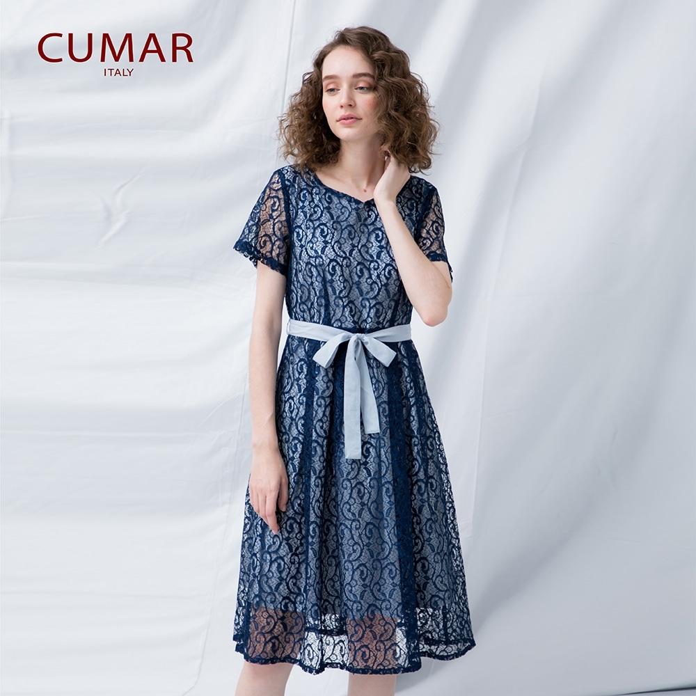 【CUMAR】蕾絲修身綁帶長版-洋裝(二色/版型適中)