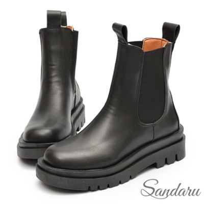 山打努SANDARU-韓國直送 重量級百搭厚底切爾西短靴-黑