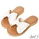 Ann'S全糖風格-柔軟綿羊皮大蝴蝶結平底涼拖鞋-米白(版型偏小) product thumbnail 1