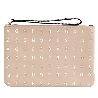agnes b. LOGO標誌PU手拿包(小/米)