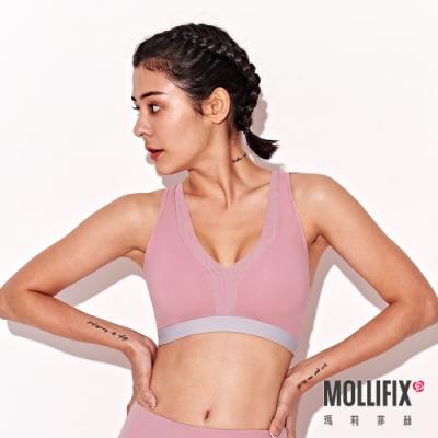 Mollifix 瑪莉菲絲 深V後交叉運動內衣 (紫灰)