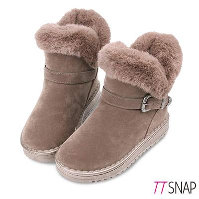 TTSNAP雪靴-帥氣飾扣仿牛麂皮保暖中筒靴 卡其