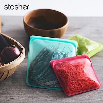 Stasher 方形環保按壓式矽膠密封袋-野莓紅(快)