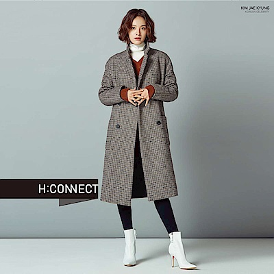 H:CONNECT 韓國品牌 女裝-排扣格紋毛呢大衣-卡其