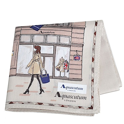 Aquascutum 倫敦風格時尚仕女品牌圖騰字母LOGO帕領巾(卡其系)