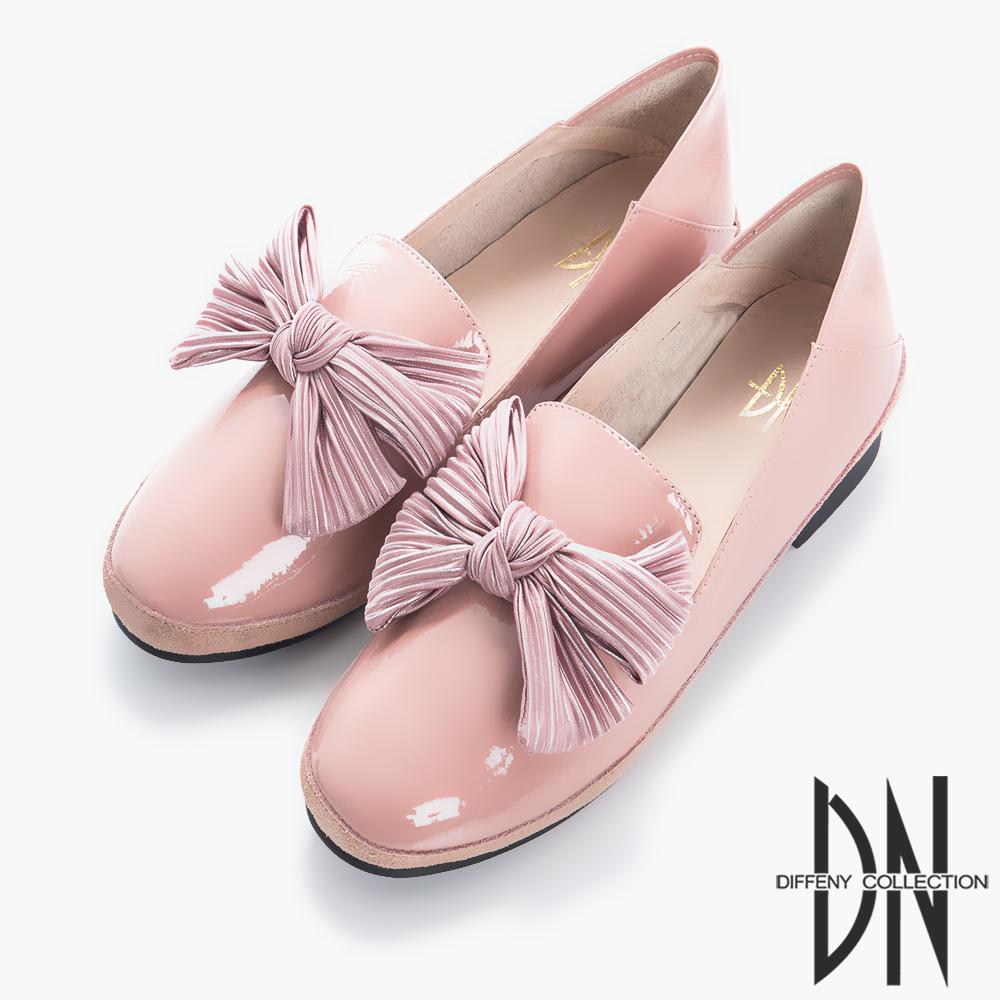 DN 舒適樂活 漆皮造型蝴蝶結樂福鞋-粉