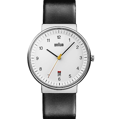 BRAUN德國百靈 經典質感 日曆顯示設計 石英皮革錶 –白色/40mm