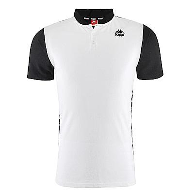 KAPPA義大利 時尚舒適型男純棉運動短袖衫白-黑 REGULAR FIT