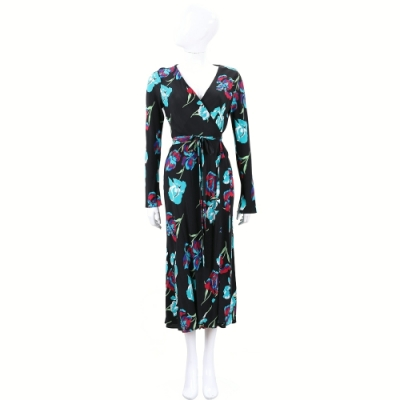 Diane von Furstenberg 黑色交叉領印花綁帶洋裝