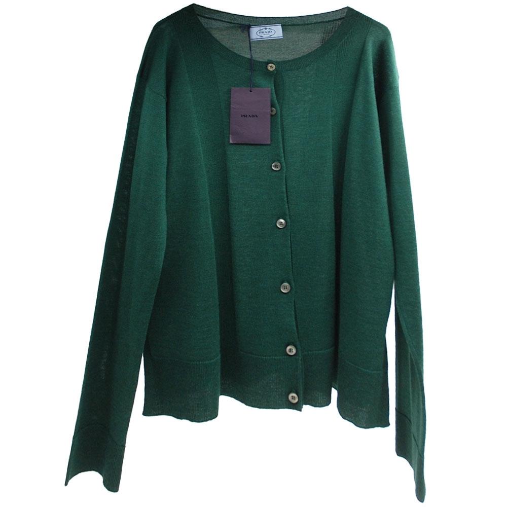 PRADA MILANO 品牌經典綠色羊毛混絲開襟針織衫外套(44號/女款)
