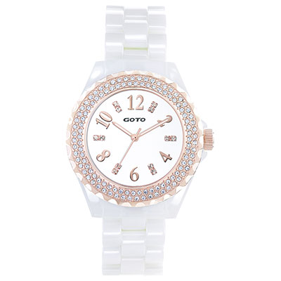 GOTO 晶亮風尚陶瓷晶鑽腕錶-玫x白/38mm