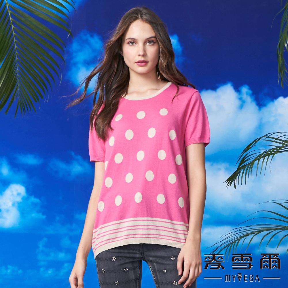【麥雪爾】純棉波卡圓點下擺條紋針織衫-桃紅