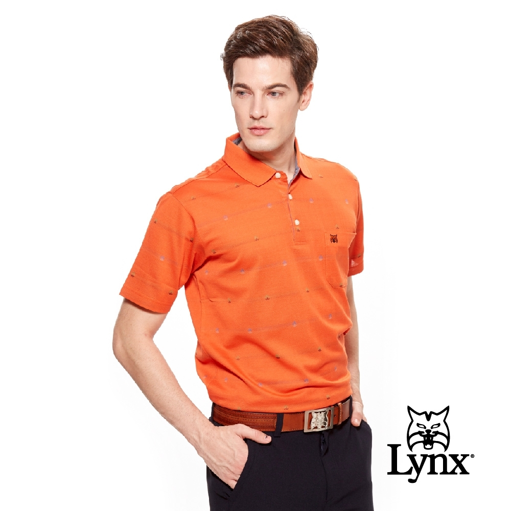【Lynx Golf】男款雙絲光帆船緹花短袖POLO衫-橘色