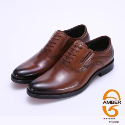 Amber 手工漸層直套式紳士鞋皮鞋-咖啡色