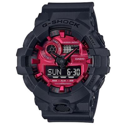 G-SHOCK 強悍不息品牌識別紅黑槪念大錶徑休閒錶(GA-700AR-1ADR)/53.4mm