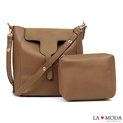 La Moda 極簡異材質拼接設計大容量肩背斜背子母包(棕)