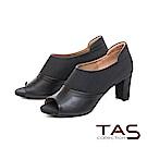 TAS 牛仔紋質感素面拼接魚口高跟踝靴-神秘黑