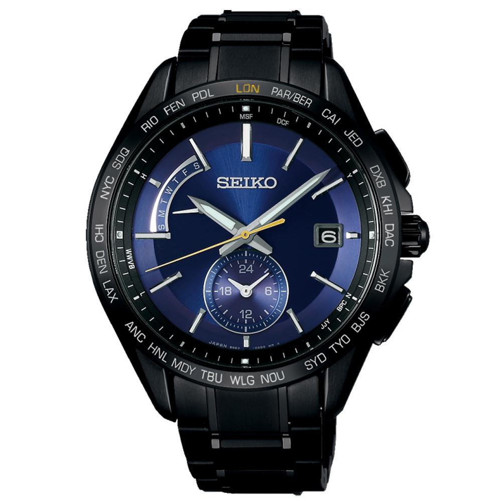 SEIKO 精工太陽能鈦金世界時間電波錶SAGA239J-藍X黑/43mm