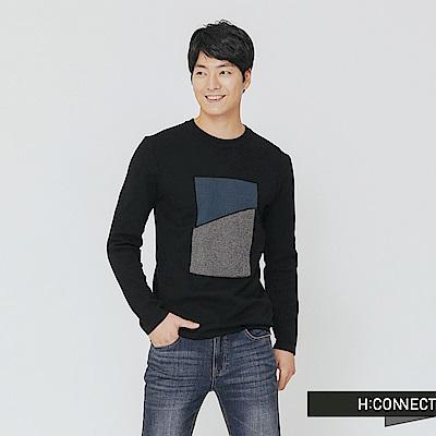 H:CONNECT 韓國品牌 男裝-色塊拼接針織上衣-黑
