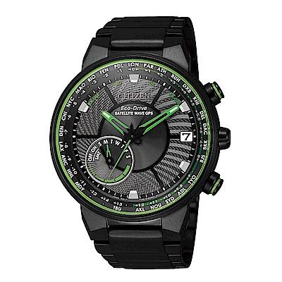 CITIZEN GPS潮流綠衛星對時光動能腕錶CC3075-80E