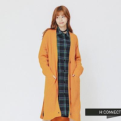 H:CONNECT 韓國品牌 女裝-排釦口袋長板針織外套-黃