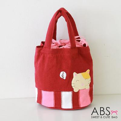 ABS貝斯貓 可愛樂音貓咪拼布 束口圓筒小提袋(活力紅)88-155