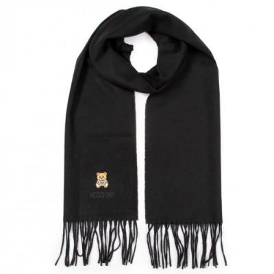 MOSCHINO 經典刺繡泰迪熊字母LOGO圖案100%羊毛圍巾/披肩 黑色