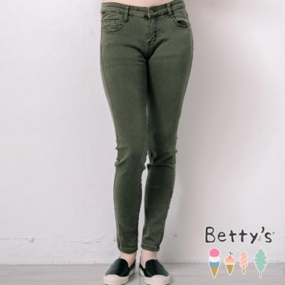 betty's貝蒂思 簡約百搭彈性窄管褲(深綠)