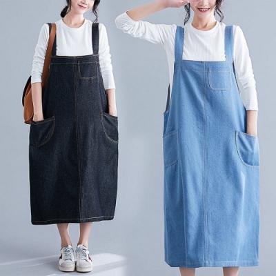 百搭純色吊帶背心大口袋牛仔裙L-XL(共二色)-Keer