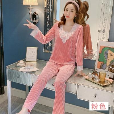 Sleeping Beauty 法式浪漫蕾絲絨毛套裝-三色可選