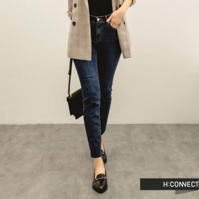 H:CONNECT 韓國品牌 女裝 -自然水洗微彈Skinny牛仔褲-深藍色