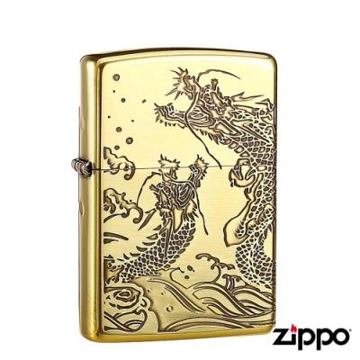 日系Zippo 雙海龍紋-氧化金紋防風打火機#ZA-3-39a