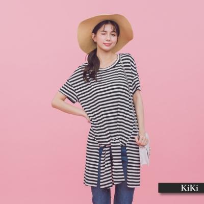 【KiKi】休閒條紋綁結-上衣(白色)