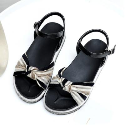 KEITH-WILL時尚鞋館 好感印象簡約百搭休閒涼鞋-黑